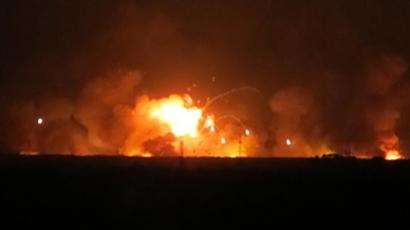 A major fire has broken out at a munitions storage depot in the Central Russian republic of Udmurtia (image from mail.ru)
