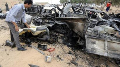 A convoy of loyalist forces is believed to have been bombed by NATO before the killing of Muammar Gaddafi in the Libyan town of Sirte on October 22, 2011 (AFP Photo / Philippe Desmazes)