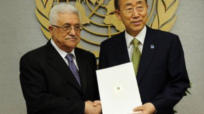 US: Palestinian Authority President Mahmoud Abbas hands over a formal letter for Palestine to be admitted as a state to the UN Secretary-General Ban Ki-Moon in New York, September 23, 2011. (AFP Photo/Emmanuel Dunand)