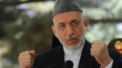 Kabul: Afghan President Hamid Karzai speaks during a press conference at the Presidential palace in Kabul on May 31, 2011 (AFP Photo / Shah Marai)