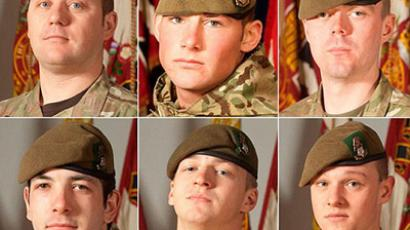 Six soldiers killed in Afghanistan (top row left to right) Sergeant Nigel Coupe, Corporal Jake Hartley and Private Anthony Frampton, with (bottom row left to right) Private Christopher Kershaw, Private Daniel Wade and Private Daniel Wilford (AFP Photo / Iain Hamer / British Ministry of defence / Handout)