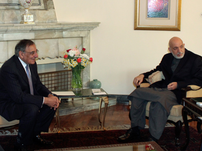 Hamid Karzai (R) and Leon Panetta in Kabul March 15, 2012 (Reuters / Mohammad Ismail)