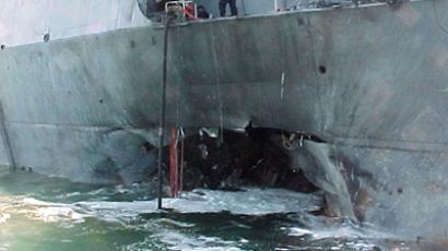 The port side damage to the guided missile destroyer USS Cole is pictured after a bomb attack during a refueling operation in the port of Aden on October 12, 2000 (Reuters / Aladin Abdel Naby / Files)
