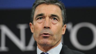 Brussels : NATO Secretary General Anders Fogh Rasmussen speaks during a press conference at the NATO headquarters in Brussels on April 11, 2011. (AFP PHOTO / JOHN THYS)