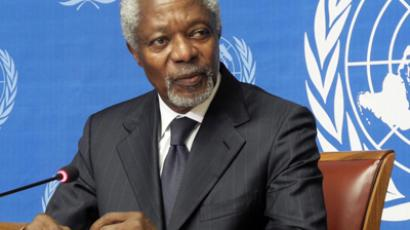 Kofi Annan, Joint Special Envoy of the United Nations and the League of Arab States for Syria gives a press conference in Geneva to announce his resignation on August 2, 2012 (AFP Photo / Yann  Castanier)