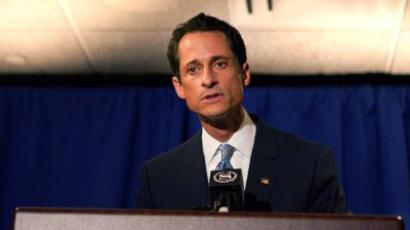 New York: NEW YORK, NY - JUNE 06: Rep. Anthony Weiner (D-NY) admits to sending a lewd Twitter photo of himself to a woman and then lying about it during a press conference at the Sheraton Hotel on 7th Avenue on June 6, 2011 (Andrew Burton/Getty Images/AFP)
