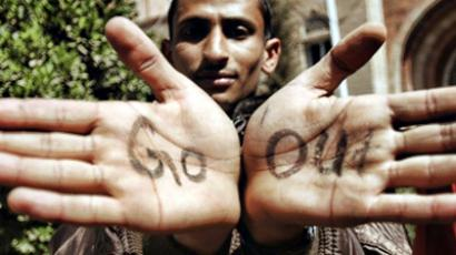 Sanaa: An anti-regime protester shows the palms of his hands as he and others gather inside the grounds of the Sanaa University in the Yemeni capital on February 16, 2011, on the fifth day of consecutive protests against the regime of Yemeni President Ali Abdullah Saleh. (AFP Photo / Mohammad Huwais)