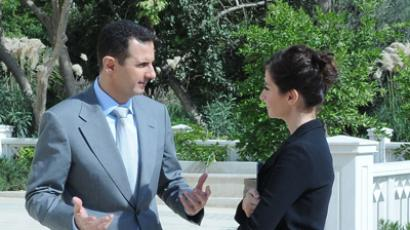 Bashar Assad talking to RT's Sophie Shevardnadze.