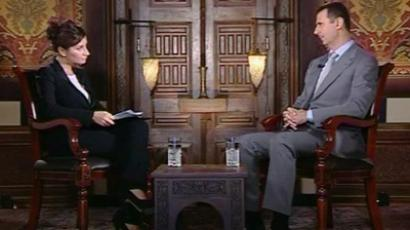 Bashar Assad speaking with RT's Sophie Shevardnadze
