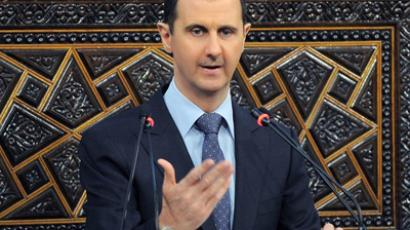 A handout picture released by the official Syrian Arab News Agency (SANA) shows Syrian President Bashar al-Assad addressing the parliament in Damascus on June 3, 2012 (AFP Photo/HO)