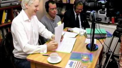 "Julian Assange and his crew making Episode 1 of ""The World Tomorrow"" show"