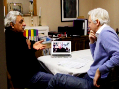 Julian Assange talking with Noam Chomsky and Tariq Ali