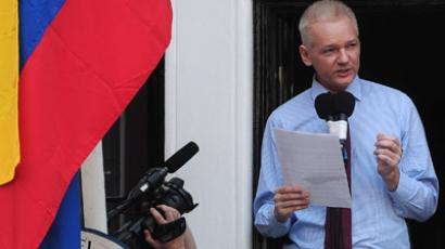 Assange makes first public statement since entering Ecuador's London embassy (AFP Photo/Carl Court)
