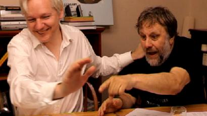 Julian Assange and Slovenian sociologist, philosopher and former anti-communist dissident Slavoj Zizek