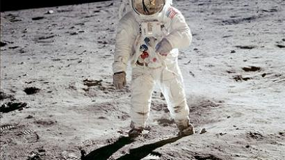 Aldrin walks on the surface of the Moon during Apollo 11 (NASA Photo)