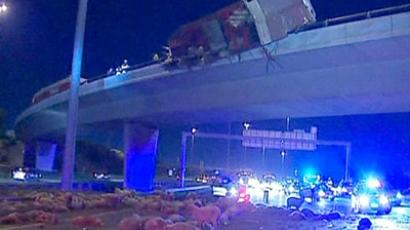 Hundreds of sheep lying on the Princes Highway after a livestock truck overturned on an overpass