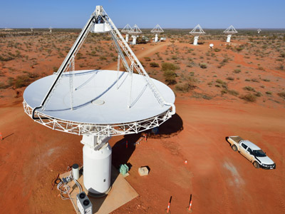 An undated handout photo received on October 5, 2012 show some of the antennas of the Australian SKA Pathfinder telescope as Australia unveiled a colossal radio telescope that will allow astronomers to detect distant galaxies and explore the depths of the universe with unprecedented precision. (AFP Photo/CSIRO/Dragonfly Media)