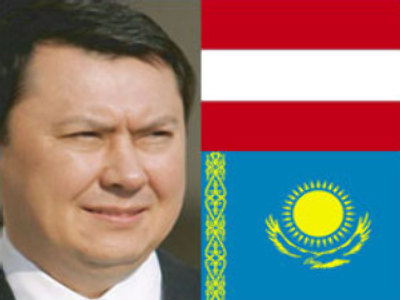 Rakhat Aliyev and the flags of Austria (upper) and Kazakhstan