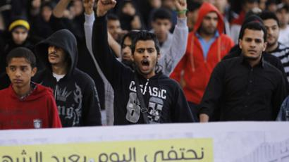 Protesters shout anti-government slogans as they march in the capital Manama December 17, 2012. (Reuters/Hamad I Mohammed)