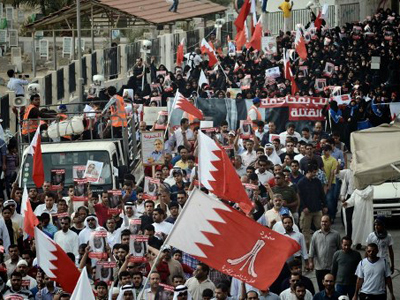 Bahraini protesters rally for political reforms in the Shiite village of Jidhafs, West Manama, on March 23, 2012 (AFP Photo / STR)