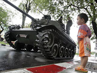 Tanks heading for maintenance cause coup panic in Bangkok