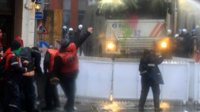 DATE IMPORTED:January 29, 2013Arcelor Mittal workers from several Liege steel plants clash with riot policemen during a demonstration outside the Walloon Region parliament in Namur January 29, 2013.(Reuters / Yves Herman)