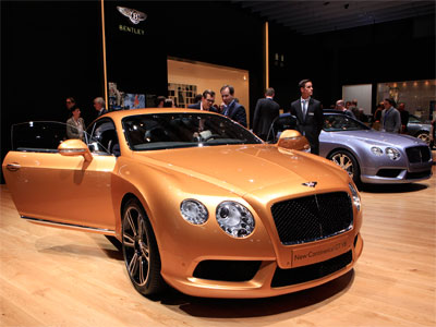 The new Bentley Continental GT V8 car is pictured during the second media day of the 82nd Geneva Auto Show at the Palexpo Arena in Geneva.(Reuters / Denis Balibouse)