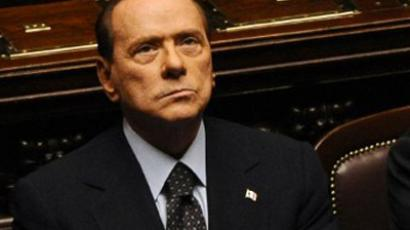 Italy's Prime Minister Silvio Berlusconi reacts prior a vote on Italy's public accounts at the parliament on November 8, 2011 in Rome (AFP Photo / VINCENZO PINTO)