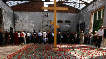A memorial service held in Beslan for the victims of the Beslan school hostage (RIA Novosti / Ruslan Krivobok)