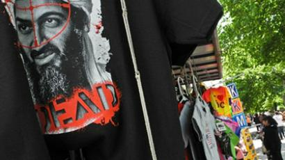 A T-shirt featuring al-Qaeda leader Osama bin Laden is on sale at a souvenir stand near the White House in Washington on May 7, 2011, six days after he was killed by US Navy Seals in Pakistan (AFP Photo / Nicholas Kamm)