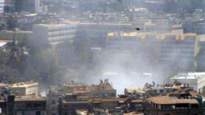 Blast in Damascus on September 2, 2012 (image from Twitter/@KKSyria). Video courtesy of Alikhbaria Syria