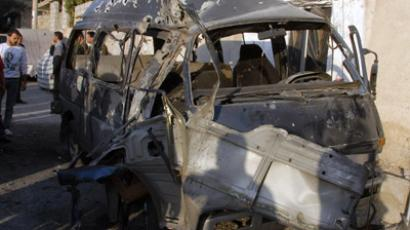 A handout picture released by the Syrian Arab News Agency (SANA) shows a destroyed car early on November 7, 2012 in the Damascus district of Mazzeh after it was target by mortar fire (AFP Photo / SANA)