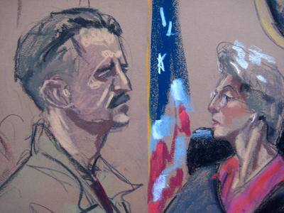 Courtroom illustration of Viktor Bout listening to U.S. District Court Judge Shira Scheindlin during sentencing in New York (Reuters / Handout)