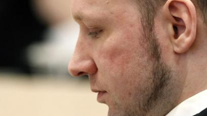 Defendant Anders Behring Breivik pauses as he answers questions made by the public prosecutor Bejer Engh (not pictured) at the start of the third day of proceedings in the courthouse in Oslo April 18, 2012. (Reuters / Fabrizio Bensch)