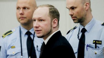 Anders Behring Breivik attends the fourth day of proceedings at Oslo's courthouse on April 19, 2012 (AFP Photo / Pool / Stian Lysberg Solum)