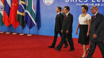 April 14, 2011. The participants of the BRICS Leaders Meeting, from left: Russia's President Dmitry Medvedev, Chinese leader Hu Jintao, Brazil's President Dilma Rousseff and South Africa's President Jacob Zuma pose for photo at the Sheraton Hotel in Sanya, Hainan. (RIA Novosti / Dmitry Astakhov)