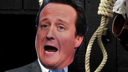 "A mannequin depicting David Cameron during a photocall to illustrate a ""Hung Parliament"" event in London. If the death penalty is restored in the UK, the image could have a very different resonance (AFP Photo / Carl de Souza)"
