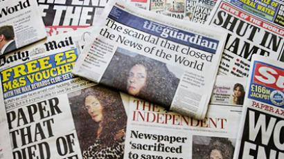 In this photo illustration, various front pages of London newspapers report on the closing of the national tabloid newspaper 'News of The World' on July 8, 2011 in London, England (AFP Photo / Getty Images)