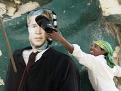 Bush burned: effigy destroyed in Iraqi protest