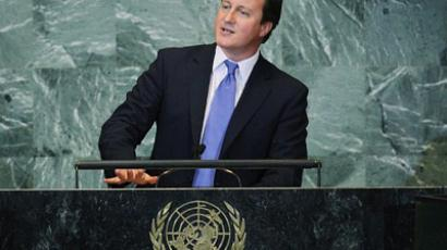British Prime Minister David Cameron speaks during the United Nations General Assembly at UN headquarters on September 22, 2011 in New York City (Mario Tama / Getty Images / AFP)