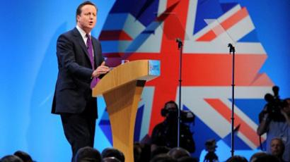 British Prime Minister David Cameron addresses delegates during the final day of the Conservative Party Conference in Manchester, north-west England on October 5, 2011 (AFP Photo / ANDREW YATES)