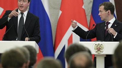 Right to left: Russian President Dmitry Medvedev and British Prime Minister David Cameron during a news conference following their talks in the Kremlin. (RIA Novosti / Mikhail Klimentyev)