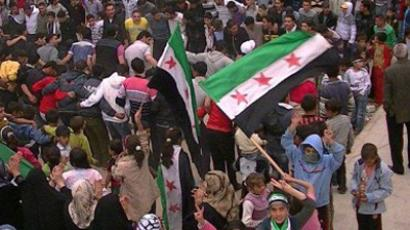 Syrian anti-government protesters (AFP Photo / HO / Shaam News Network)