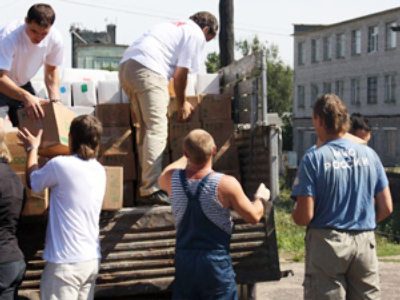 Russians gather aid for fire victims nationwide