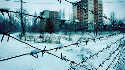 Ukraine, Charnobyl: A view of a housing projects in the ghost town in of Pripyat near Chernobyl's nuclear power plant.  (AFP Photo / Sergei Supinsky)