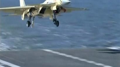 J-15 jet about to land. (CCTV video still)