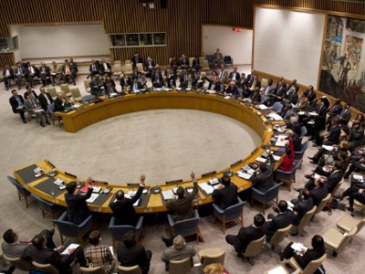 Members vote on a resolution on Syria in the United Nations Security Council during a meeting on Syria February 4, 2012 at the United Nations in New York (AFP Photo / Don Emmert)