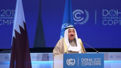 Kuwait's Emir Sheikh Sabah al-Ahmad al-Sabah talks during the opening ceremony of the plenary session of the high-level segment of the 18th session of the Conference of Parties (COP18) of the United Nations Framework Convention on Climate Change (UNFCCC) in Doha December 4, 2012 (Reuters / Fadi Al-Assaad)