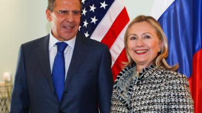 U.S. Secretary of State Hillary Clinton (R) and Russia's Foreign Minister Sergei Lavrov (Reuters/Michaela Rehle)