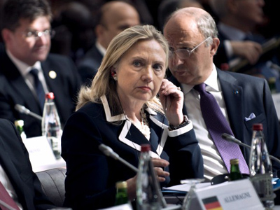 "US Secretary of State Hillary Rodham Clinton listens during a meeting of the ""Friends of the Syrian People"" at the MFA Conference Center July 6, 2012 in Paris, France (AFP Photo Pool/Brendan Smialowski)"